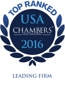 Graphic of circle surrounded by a laurel wreath. Circle reads: Top ranked, USA Chambers and partners, 2016, Leading firm