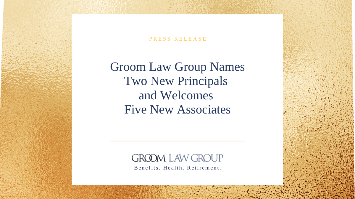 Groom Names Two New Principals And Welcomes Five New Associates Groom Law Group Or you are in search. groom law group